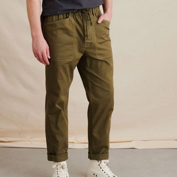 Alex Mill Pull On Button Fly Pant in Olive
