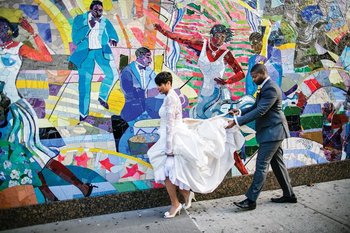 Newlyweds Danielle Robinson and Lenny Bell.
