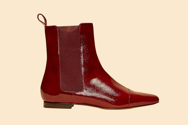 Patent Flat Delphine Boot
