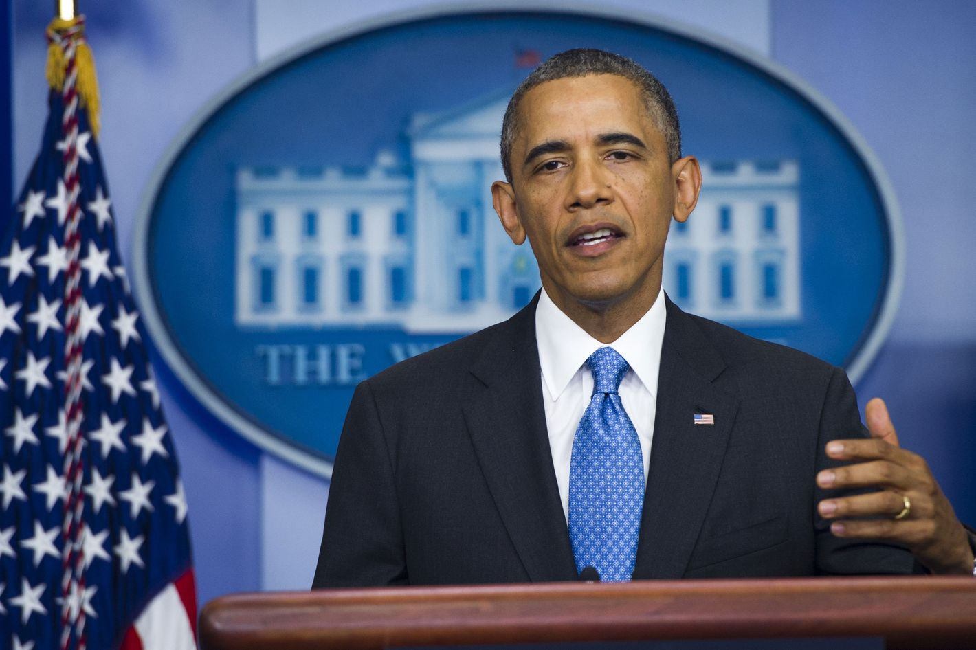 US President Barack Obama speaks about race in the context of the not guilty ruling of George Zimmerman in the killing of Florida teenager Trayvon Martin in February 2012, as he appears at the start of the Daily Press Briefing in the Brady Press Briefing Room at the White House in Washington, DC, July 19, 2013.