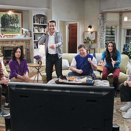 ???€?œPilot???€? -- THE McCARTHYS is a comedy about a loud, sports-crazed Boston family whose somewhat athletically-challenged son, Ronny, is chosen by his father to be his assistant high school basketball coach, to the surprise of his more qualified siblings. THE MCCARTHYS will premiere this Fall, Thursdays (9:30-10:00 PM ET/PT) on the CBS Television Network. Pictured left to right: Tyler Ritter as Ronny, Laurie Metcalf as Marjorie, Joey McIntyre as Gerard, Jimmy Dunn as Sean, Kelen Coleman as Jackie and Jack McGee as Arthur. Photo: Sonja Flemming/CBS ?'??2014 CBS Broadcasting, Inc. All Rights Reserved