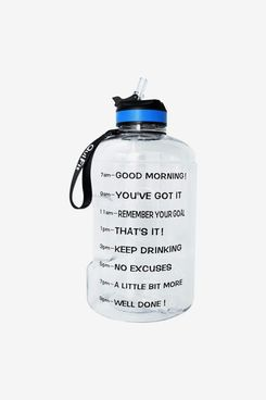 BuildLife Gallon Motivational Water Bottle Wide Mouth with Straw