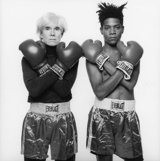 Image #: 18538    ***EXCLUSIVE***SPECIAL RATES APPLY.  PLEASE CALL 212.251.0140 TO NEGOTIATE FEES***    Artists Andy Warhol (left) and Jean Michael Basquiat (right), photographed in New York, New York, on July 10, 1985.   Michael Halsband /Landov