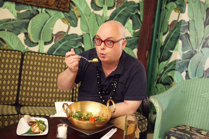 "Mickey at Indochine, where he tells the owners, ""I'm sorry, eggplant is not a meal."""