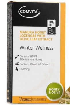 Comvita Manuka Honey Lozenges with Olive Leaf Extract, Natural Health Supplement, 12-Count