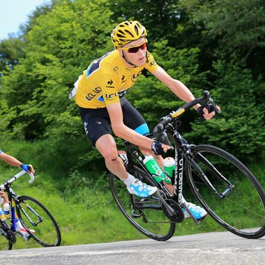 Race leader Chris Froome of Great Britain and Sky Procycling is followed by Alberto Contador of Spain and Team Saxo-Tinko on the decent of the Col De Mente during stage nine of the 2013 Tour de France, a 16805KM road stage from Saint-Girons to Bagneres-de-Bigorre, on July 7, 2013 in Bagneres-de-Bigorre, France.