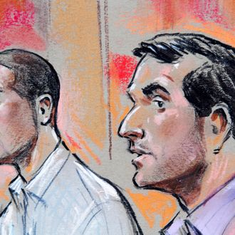 In this artist's drawing Wesam El-Hanafi, left, and Sabirhan Hasanoff are seen during their initial appearance on terrorism related charges at U.S. District Court in Alexandria, Va., on Friday, April 30, 2010. (AP Photo/William Hennessy, Jr.) **NO SALES, WASHINGTON POST OUT, WASHINGTON TIMES OUT**