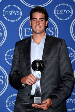 LOS ANGELES, CA - JULY 14:  Tennis player John Isner winner of the Best Record-Breaking Performance Award poses in press room during the 2010 ESPY Awards at Nokia Theatre L.A. Live on July 14, 2010 in Los Angeles, California.  (Photo by Jason Merritt/Getty Images) *** Local Caption *** John Isner