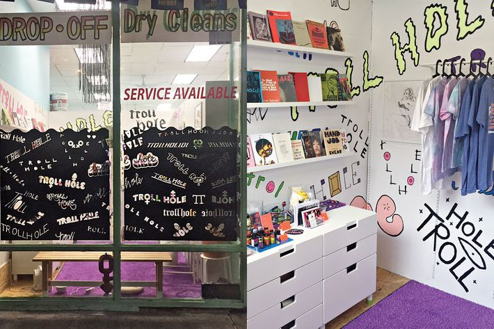 Troll Hole is a 100-square-foot feminist bookstore and sex shop constructed inside a Bushwick laundromat.