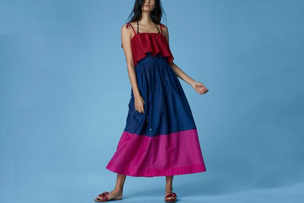 Diane von Furstenberg Sleeveless Pleated Maxi Dress, Garnet/Light Navy/Hot Pink