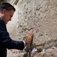 US Republican presidential candidate Mitt Romney visits the Western Wall on July 29, 2012 in Jerusalem's old city, Israel. Mitt Romney visits Israel as part of a three-nation foreign tour which also includes visits to Poland and Great Britain.
