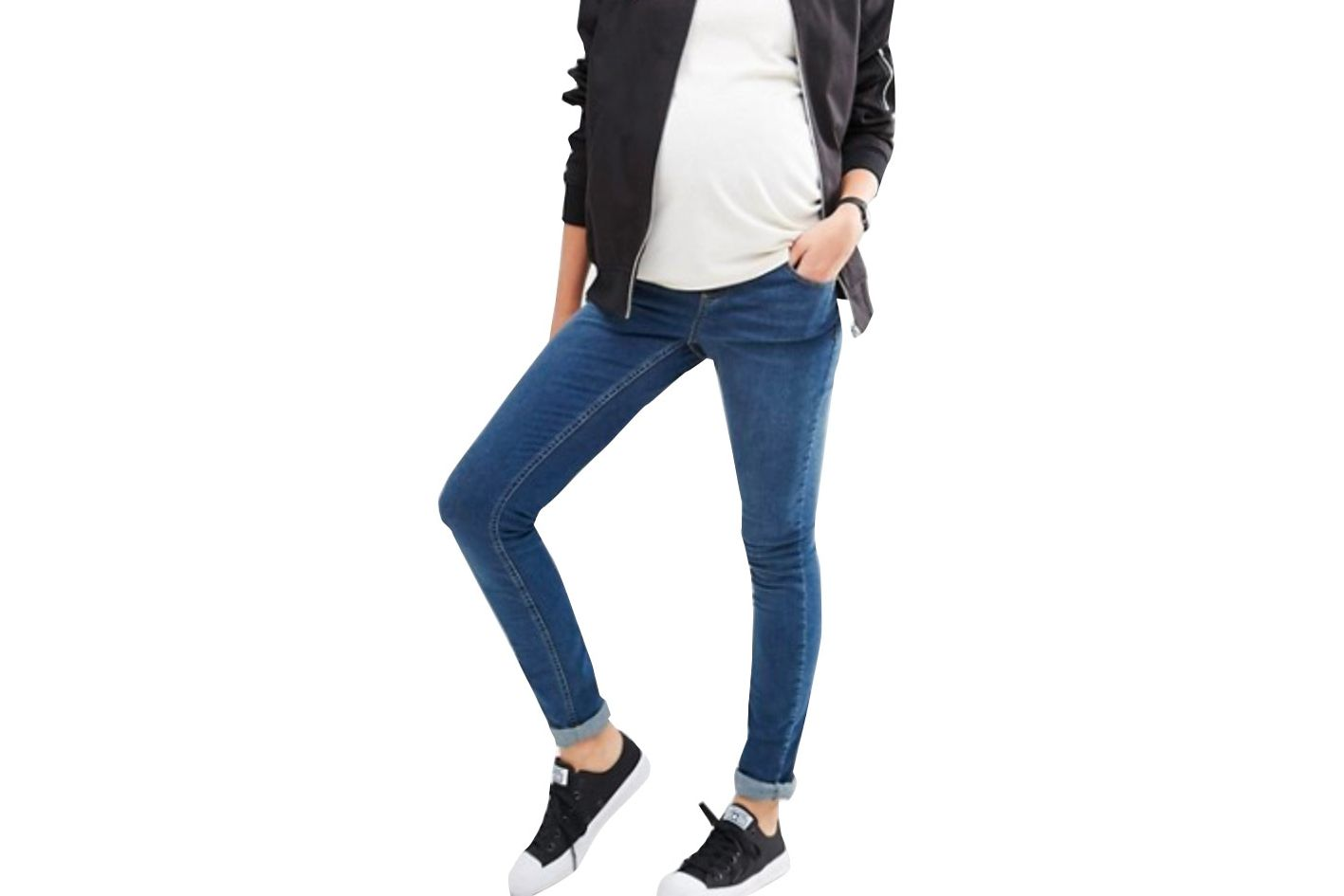 74796b172171e Best Maternity Jeans for Petite Women. Best Maternity petite Jeans. ASOS  Maternity Petite Ridley Skinny Jean in Midwash With Over the Bump Waistband