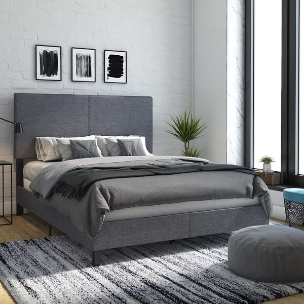 DHP Janford Upholstered Bed with Chic Design - Queen - Grey Linen
