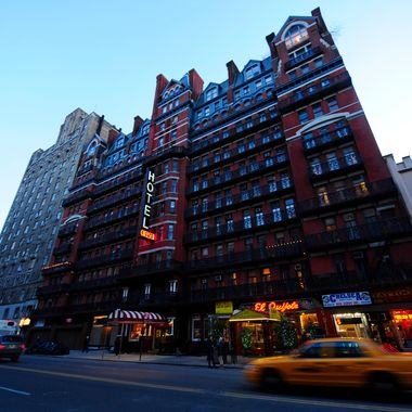 A view of the front of the Chelsea Hotel in New York, January 10, 2011. The Chelsea Hotel, a haven for struggling artists for over 50 years, is for sale since October 2010. The 12-floor, 250-room landmark hotel, was built in 1883 and hosted celebrities such as Andy Warhol, Arthur Miller and his wife Marylin Monroe, musicians Janis Joplin, Jimi Hendrix, Jim Morrison and punk rocker Sid Vicious of the Sex Pistols who killed his girlfriend Nancy Spungen there in 1978 in a drug-induced stupor.  AFP PHOTO/Emmanuel Dunand (Photo credit should read EMMANUEL DUNAND/AFP/Getty Images)