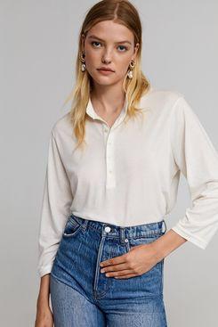 Leandra x Mango Mao Collar Shirt