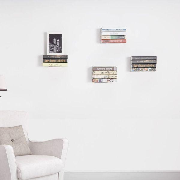STORAGE MANIAC Large Rustless Invisible Floating Bookshelf, 4-Pack