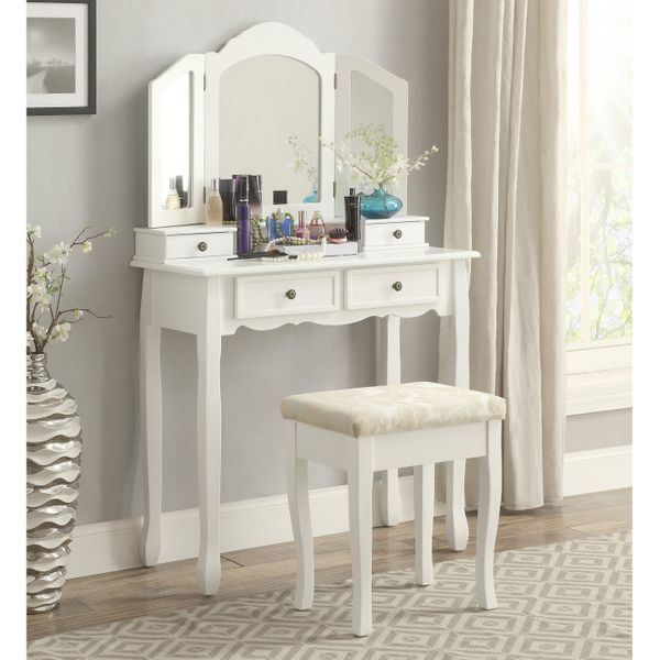 Roundhill Furniture Sanlo Wooden Vanity Make-up Table and Stool Set