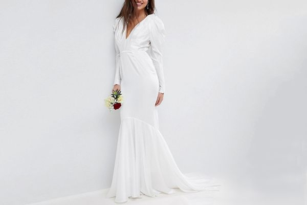 ASOS BRIDAL Pintuck Shoulder Maxi Dress with Fishtail