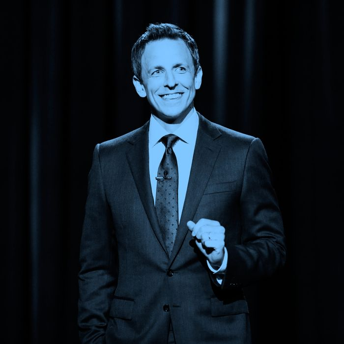 LATE NIGHT WITH SETH MEYERS -- Episode 73 -- Pictured: Host Seth Meyers during the monologue on July 21, 2014 -- (Photo by: Lloyd Bishop/NBC/NBCU Photo Bank via Getty Images)