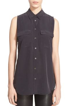 Equipment Slim Signature Sleeveless Silk Shirt