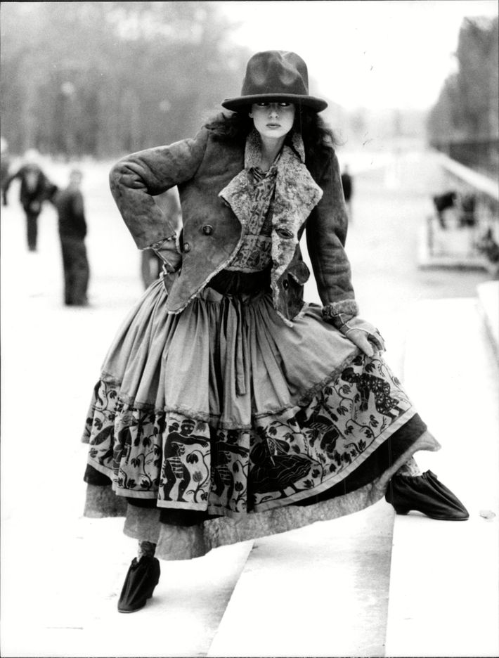 "A model wearing the mountain hat from Westwood s 1982 ""Nostalgia of Mud""  collection. Photo  Associated Newspapers Re REX USA 0eb61da83a6"