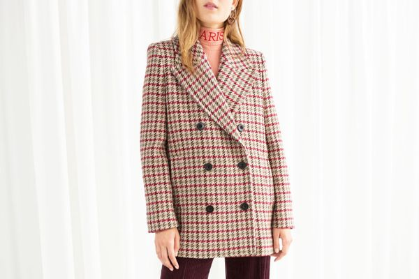 & Other Stories Wool Blend Houndstooth Coat