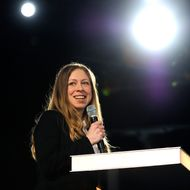 Chelsea Clinton speaks at the opening plenary session for the