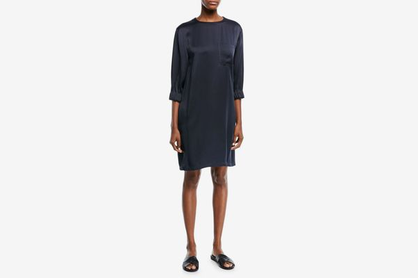 Vince Crewneck 3/4-Sleeve Gathered Satin Shift Dress