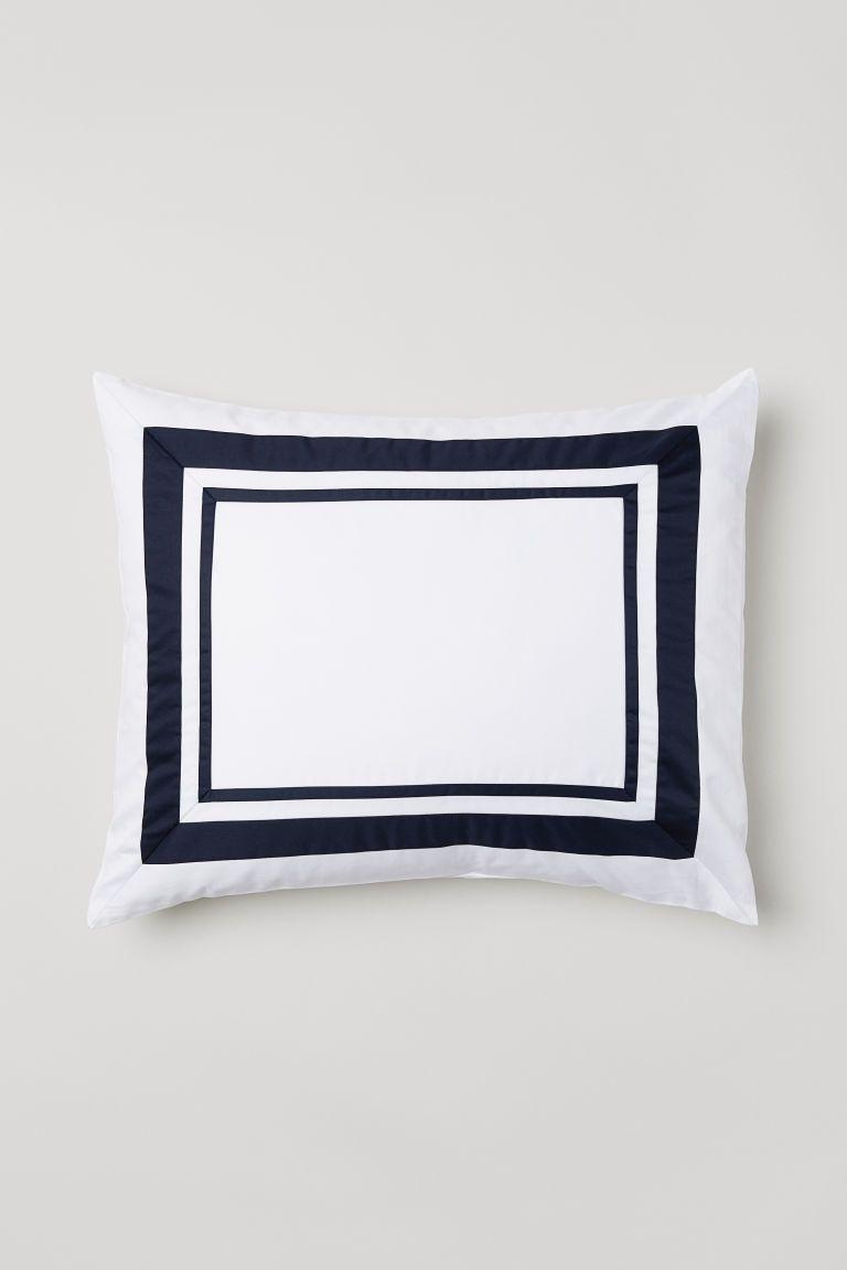 H&M Cotton Satin Pillowcase, Dark Blue