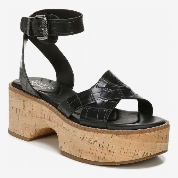 Franco Sarto Sabello Croc Embossed Platform Sandal (Black)