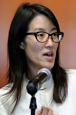 Ellen Pao, former junior partner at Kleiner Perkins Caufield & Byers, speaks to the media after the verdict in her discrimination suit at state court in San Francisco on Friday, March 27, 2015.
