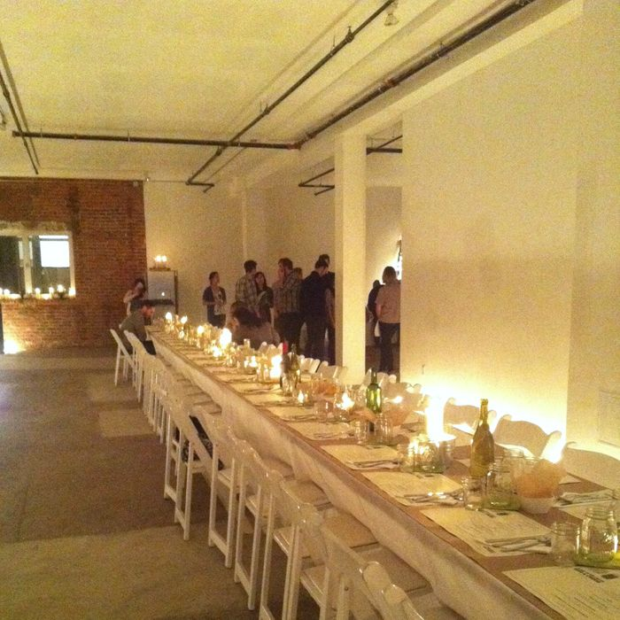 A dinner in the space before it was remodeled.