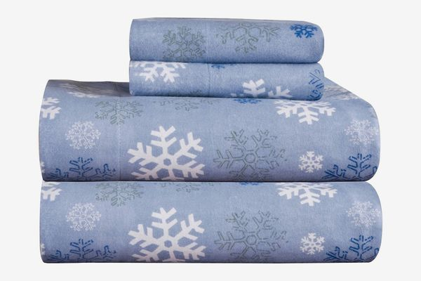 Pointehaven Heavy Weight Snow Flakes Printed Flannel Cotton Sheet Set (Queen)