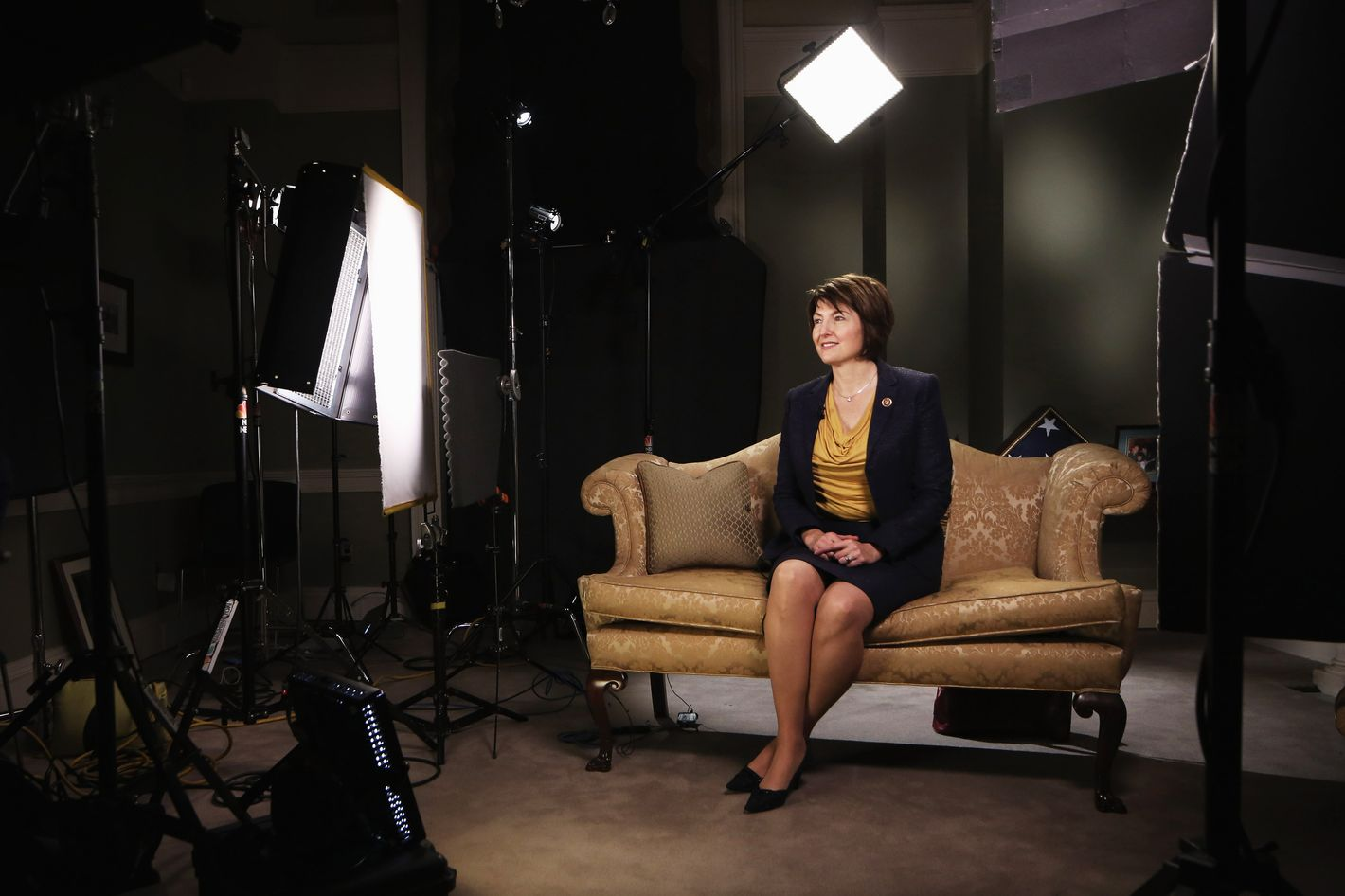 U.S. Rep. Cathy McMorris Rodgers (R-WA) sits on a couch as she prepares for responding to President Barack Obama tonight's State of the Union address January 28, 2014 on Capitol Hill in Washington, DC. McMorris Rodgers, the chair of the House Republican Conference, was picked to deliver the response.
