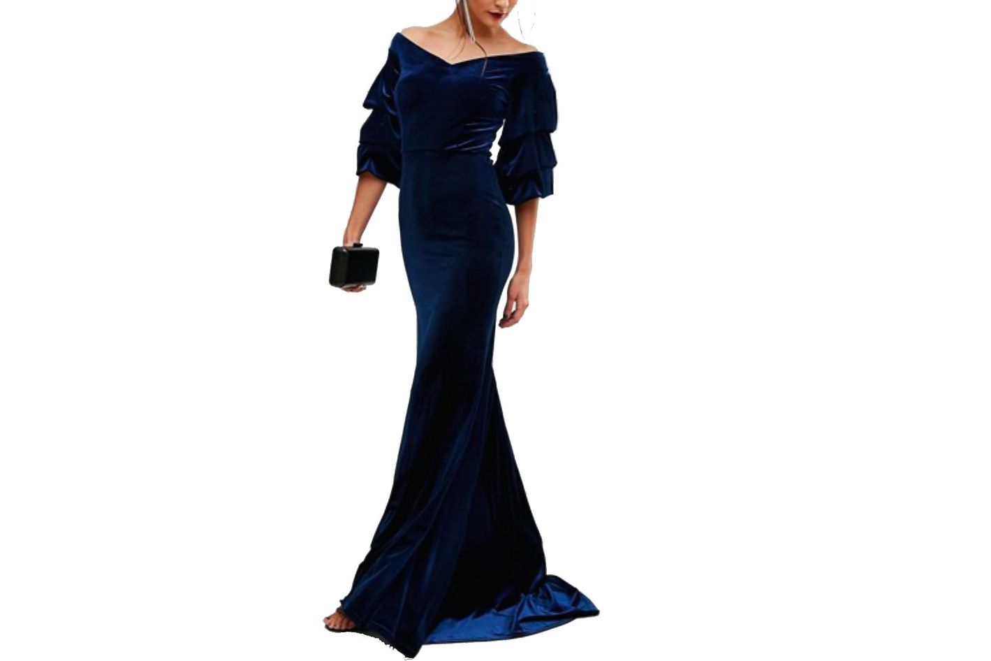 TFNC Velvet Maxi Dress With Frill Sleeve