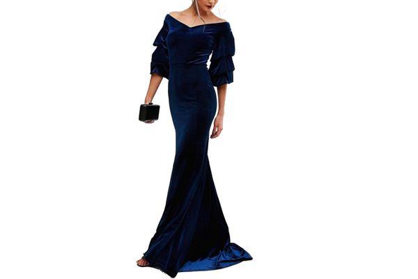 TFNC Velvet Maxi Dress With Frill Sleeve