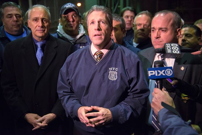 21 Dec 2014, New York City, New York State, USA --- New York City Patrolmen's Benevolent Association president Pat Lynch speaks to the media at Woodhull Hospital about the two New York Police officers who were shot dead in the Brooklyn borough of New York, December 20, 2014.