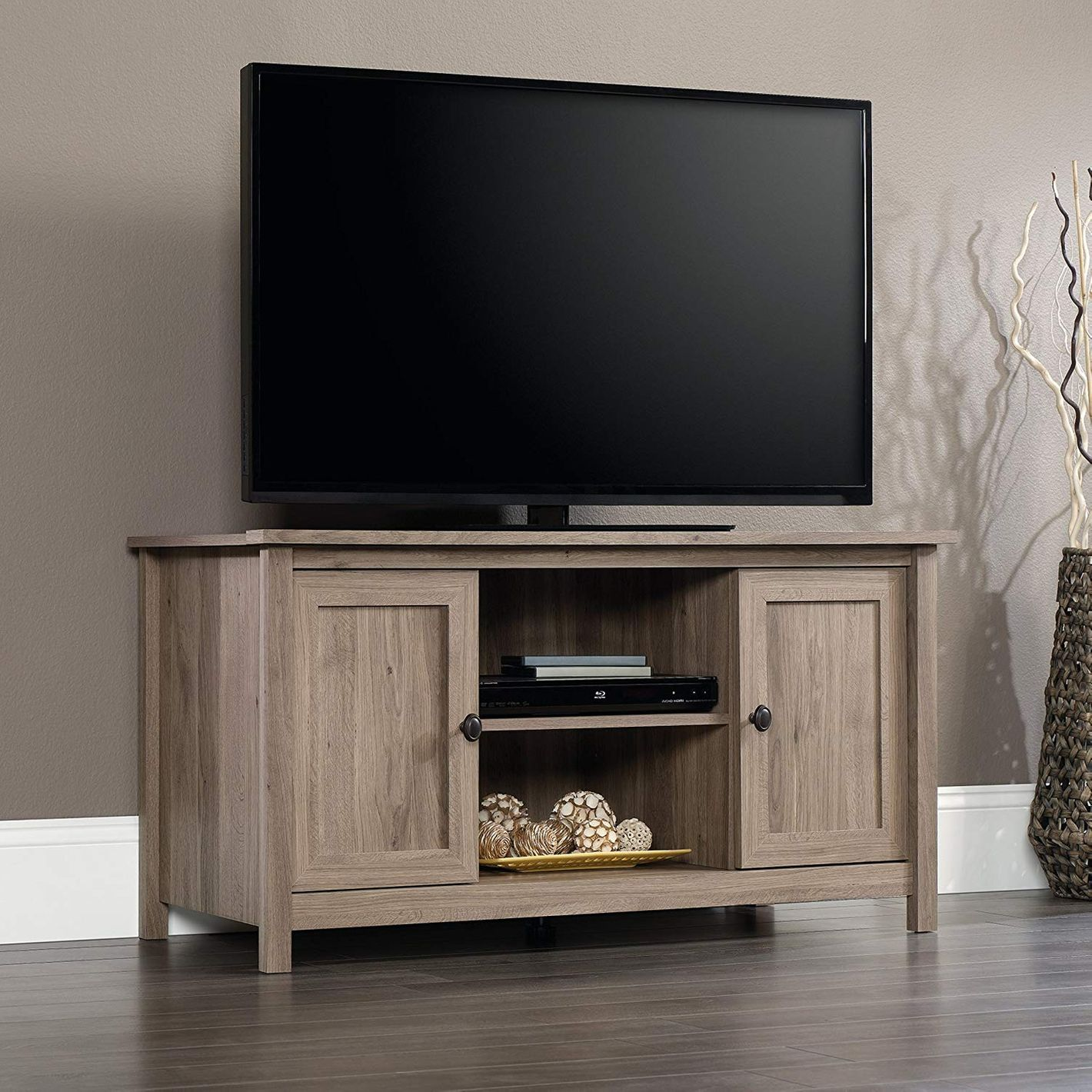 Sauder County Line Panel Tv Stand For S Up To 47 Salt Oak Finish