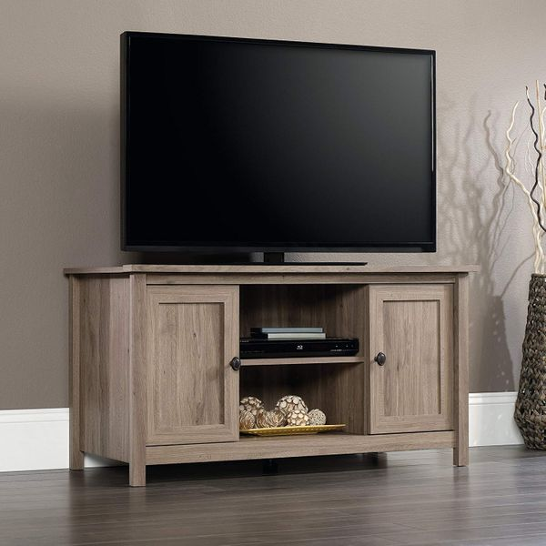 "Sauder County Line Panel TV Stand for TV's up to 47"", Salt Oak Finish"