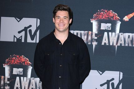 LOS ANGELES, CA - APRIL 13:  Adam DeVine arrives at the 2014 MTV Movie Awards at Nokia Theatre L.A. Live on April 13, 2014 in Los Angeles, California.  (Photo by Steve Granitz/WireImage)