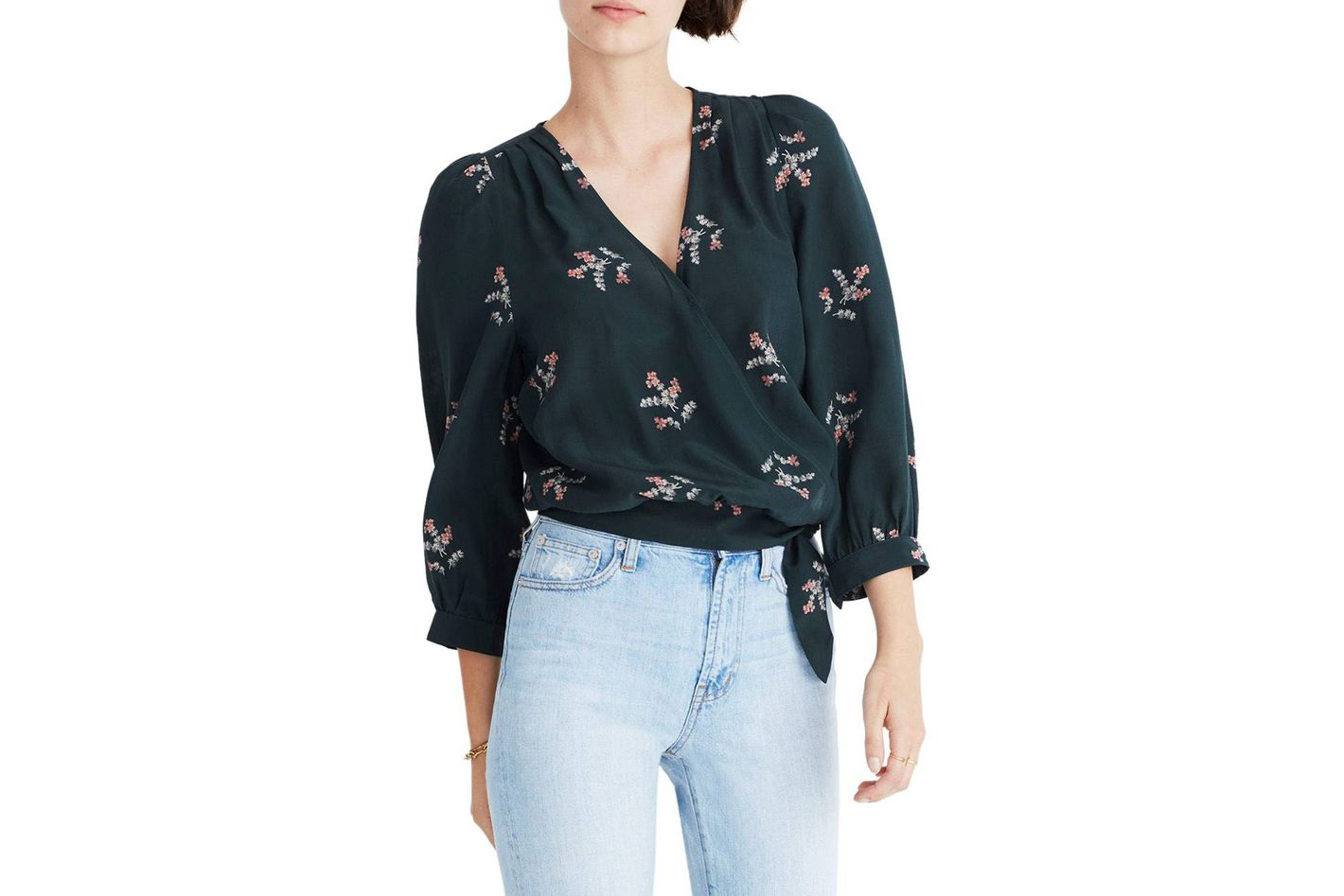 Madewell Poppy Print Silk Wrap Blouse