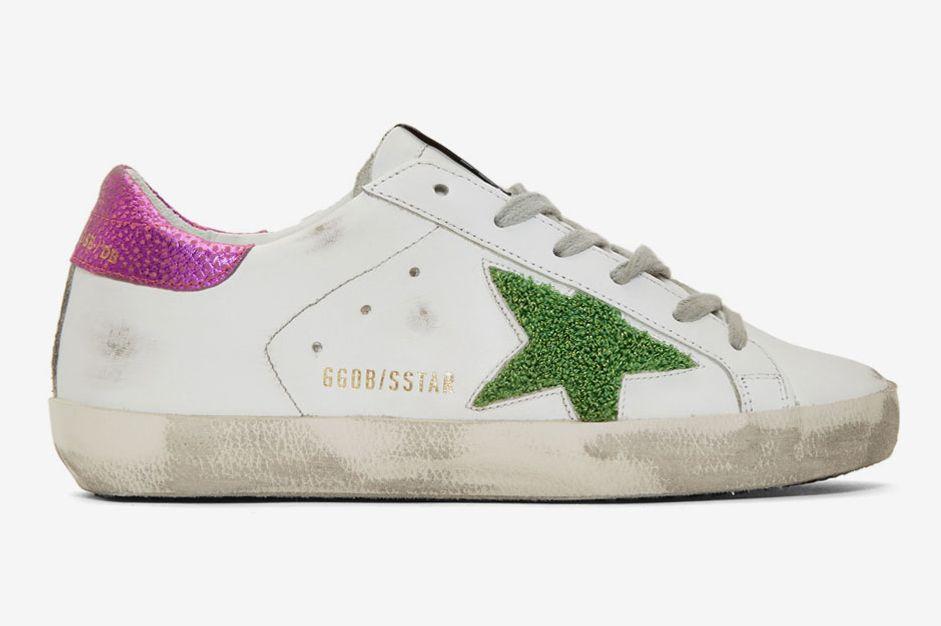 Golden Goose White & Pink Lurex Star Superstar Sneakers