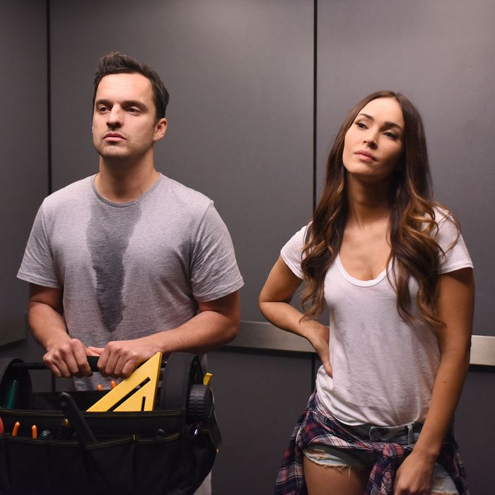 NEW GIRL: L-R: Jake Johnson and guest star Megan Fox in the