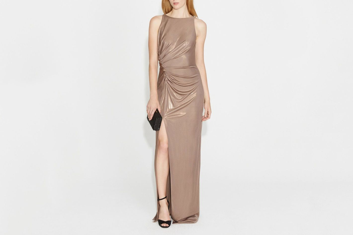 Halston Heritage Ruched Metallic Gown