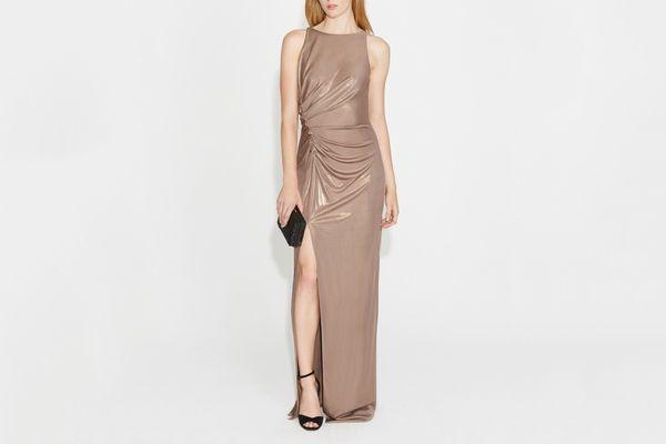 Halston Heritage Ruched Metallic Gown