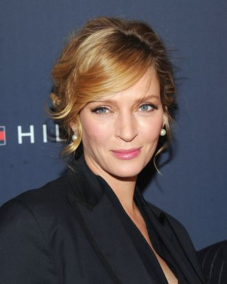 Actress Uma Thurman poses backstage at the Tommy Hilfiger Womens Fall 2012 fashion show during Mercedes-Benz Fashion Week at Park Avenue Armory on February 12, 2012 in New York City.NEW YORK, NY - FEBRUARY 12: Actress Uma Thurman poses backstage at the Tommy Hilfiger Womens Fall 2012 fashion show during Mercedes-Benz Fashion Week at Park Avenue Armory on February 12, 2012 in New York City. (Photo by Jamie McCarthy/Getty Images for Mercedes-Benz Fashion Week)