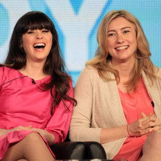 Actress Zooey Deschanel (L) and executive producer Liz Meriwether speak onstage during the spring comedy panel during the FOX Broadcasting Company portion of the 2012 Winter TCA Tour at The Langham Huntington Hotel and Spa on January 8, 2012 in Pasadena, California.