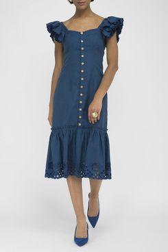 Fanm Mon Patara Indigo Blue Linen Button Front Embroidered Midi Dress