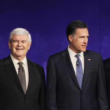 ROCHESTER, MI - NOVEMBER 09:  (L-R) Former speaker of the house Newt Gingrich, former massachusetts Gov. Mitt Romney and former ceo of godfather's pizza Herman Cain look on prior to a debate hosted by CNBC and the Michigan Republican Party at Oakland University on November 9, 2011 in Rochester, Michigan. The debate is the first meeting of the eight GOP presidential hopefuls since allegations of sexual impropriety have surfaced against front-runner Herman Cain.   (Photo by Scott Olson/Getty Images)