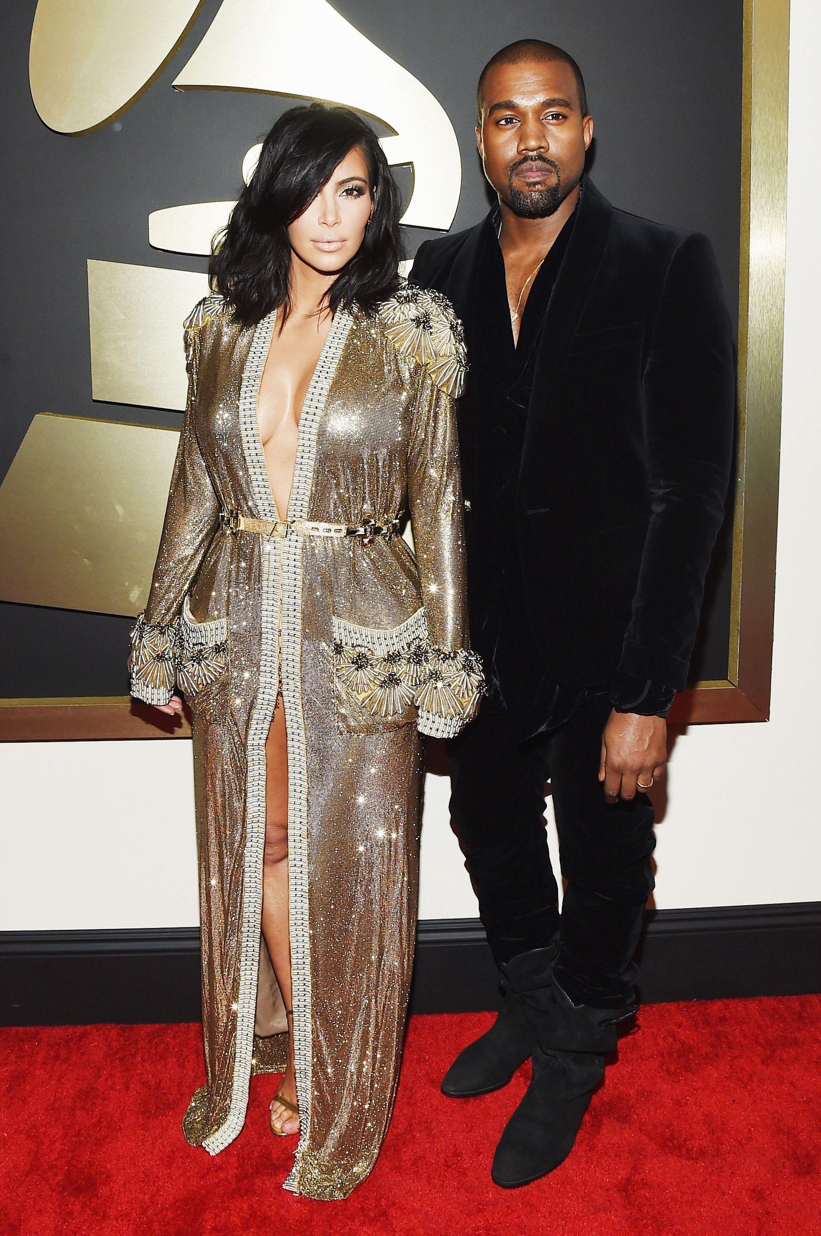 332209b90c1 Best Kouple Kleavage  Kim Kardashian in Jean Paul Gaultier and Kanye West  in Balmain Photo 3